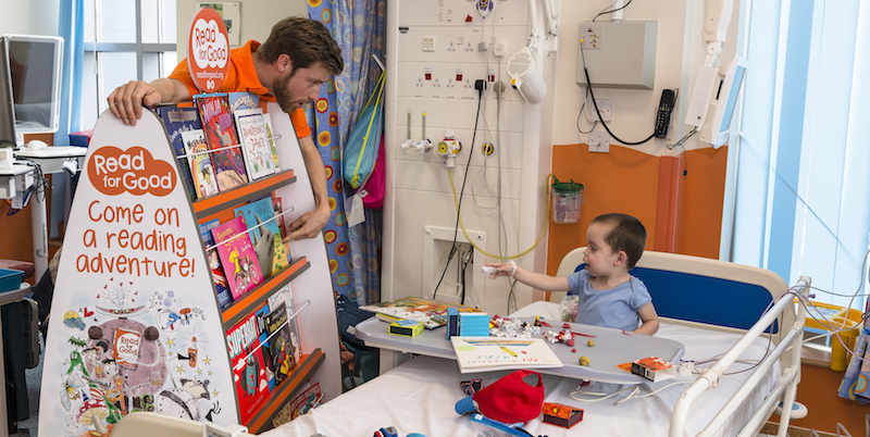 We provide brand new books and storyteller visits to children in hospital